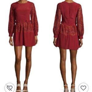 FOR LOVE AND LEMONS Abella Red Lace Dress Bow S
